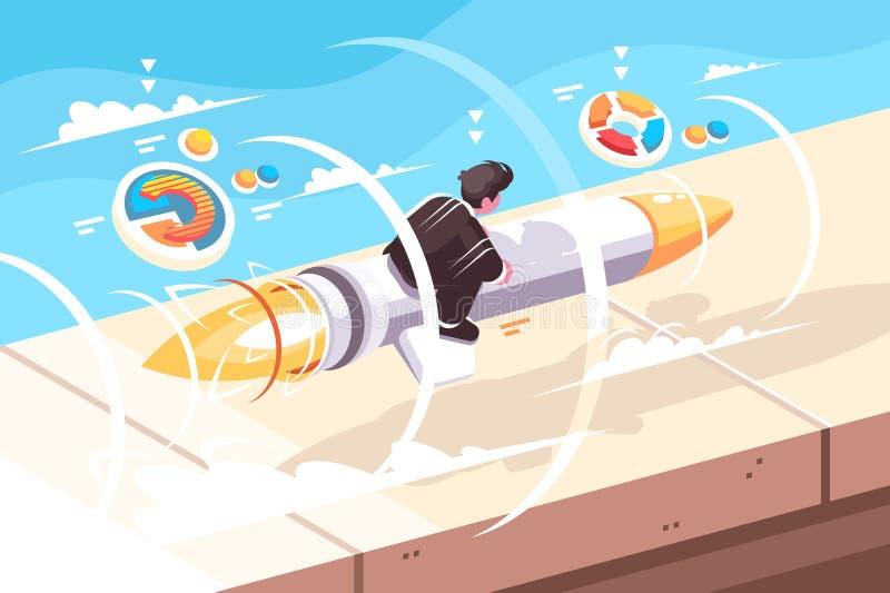 Летание бизнесмена на ракете иллюстрация штока