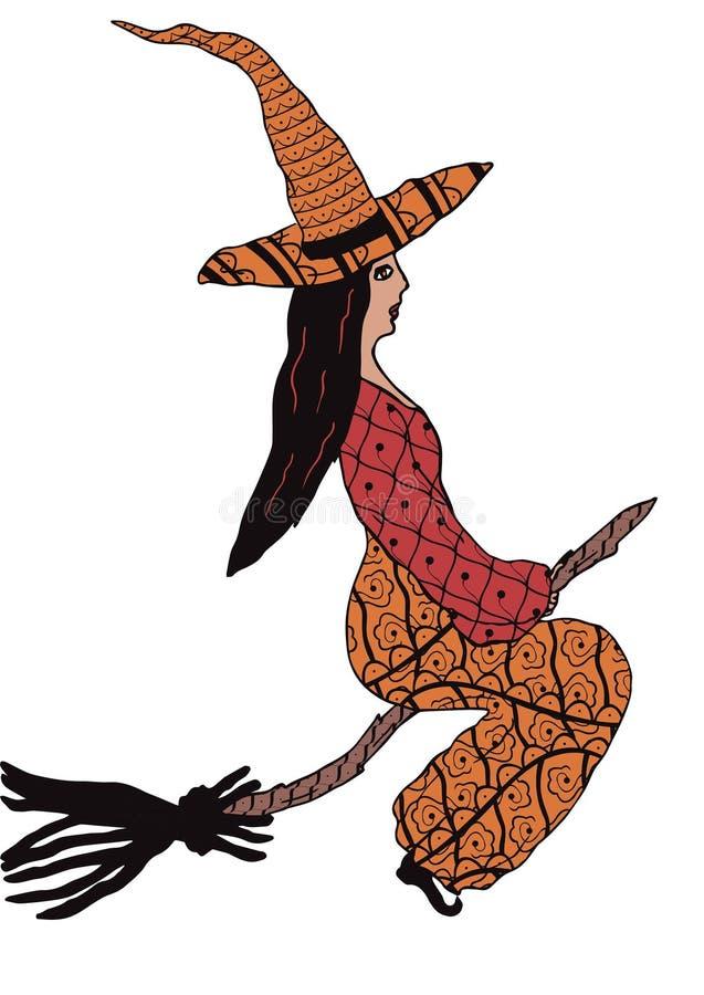 Летание ведьмы на венике с картинами в стиле Zenart стилизованное свободной руки элементов чертежа естественное иллюстрация штока