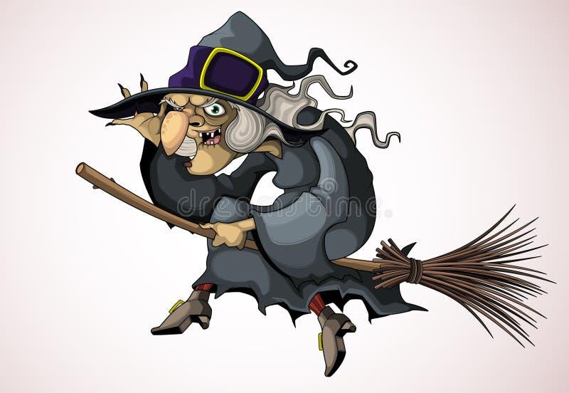 Летание ведьмы на венике бесплатная иллюстрация