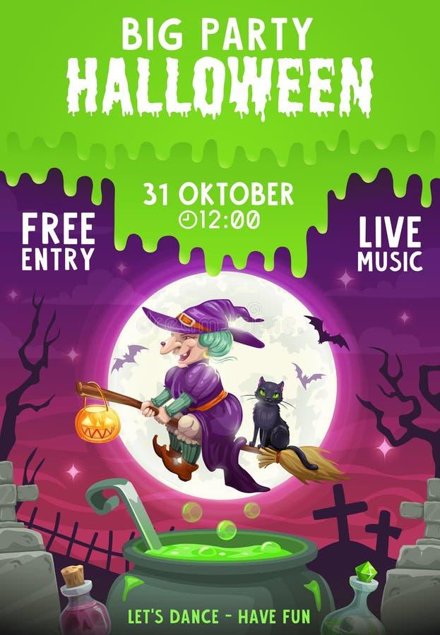 Летание ведьмы хеллоуина и черного кота на венике бесплатная иллюстрация
