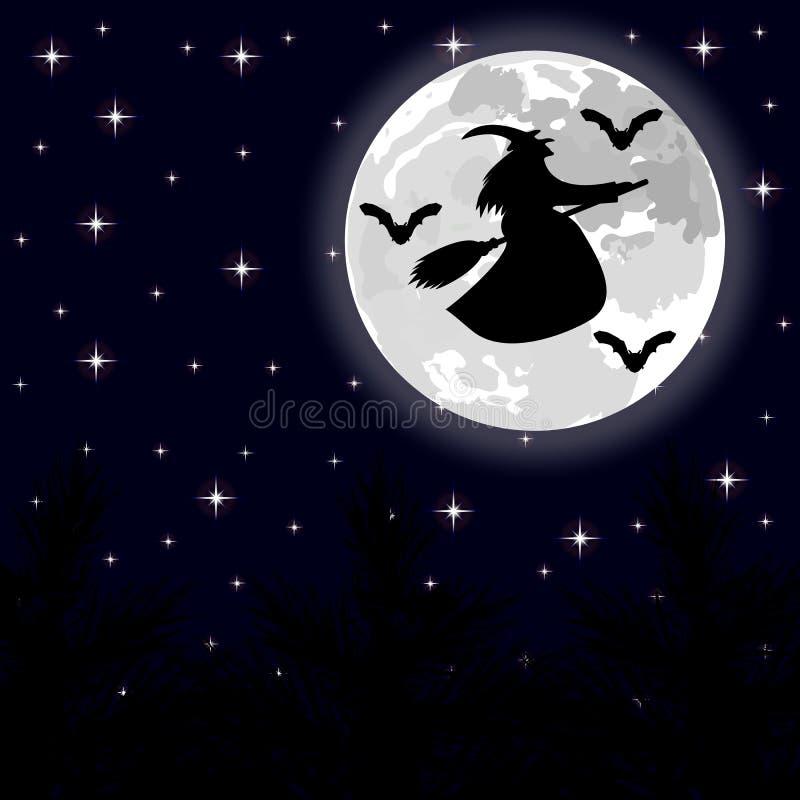 Летание ведьмы на венике на полнолунии в лесе иллюстрация вектора
