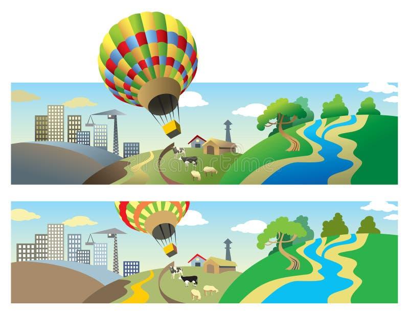 летание воздушного шара иллюстрация штока