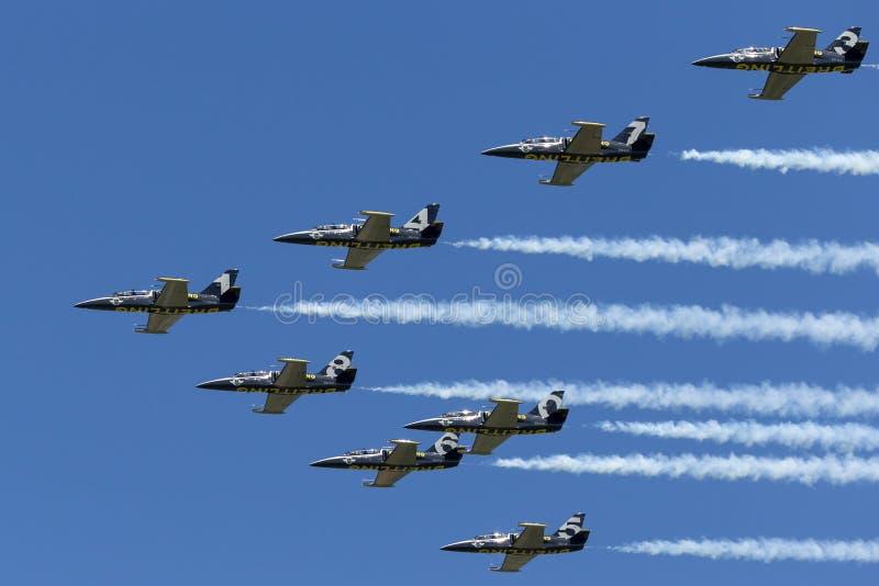 Летание воздушных судн тренера двигателя альбатроса команды Aero L-39C двигателя Breitling в образовании стоковое изображение rf
