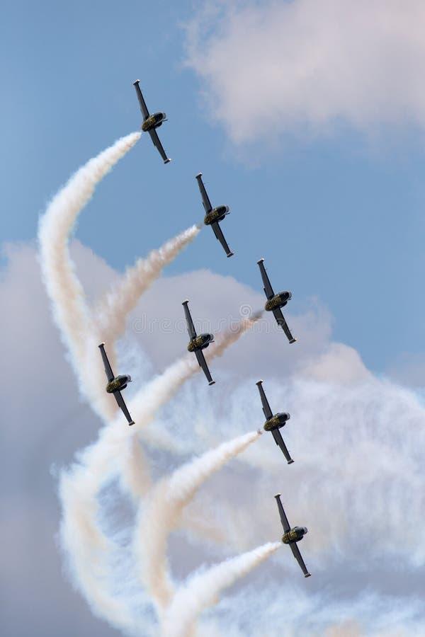 Летание воздушных судн тренера двигателя альбатроса команды Aero L-39C двигателя Breitling в образовании стоковая фотография