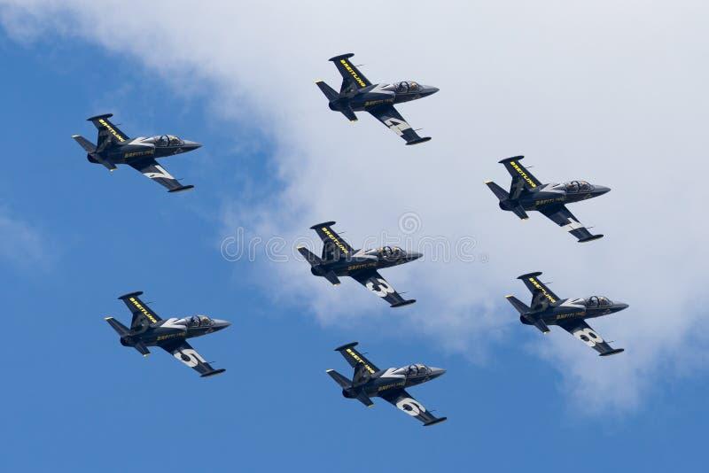 Летание воздушных судн тренера двигателя альбатроса команды Aero L-39C двигателя Breitling в образовании стоковые изображения rf