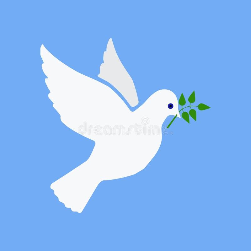 Летание голубя мира с зеленой оливкой хворостины иллюстрация штока