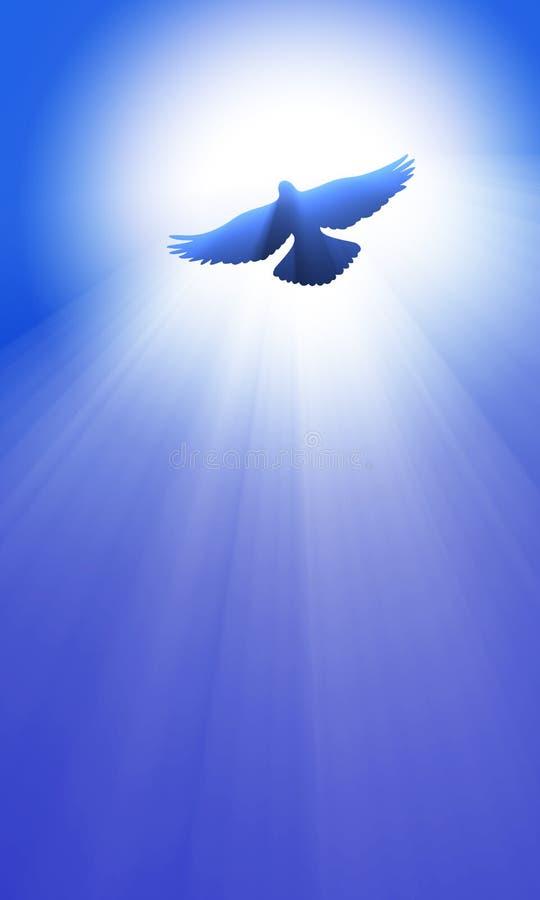 Летание голубя под мирным небесно-голубым светлым пирофакелом иллюстрация штока