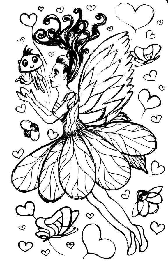 Летание девушки эльфа маленькой девочки иллюстрация вектора