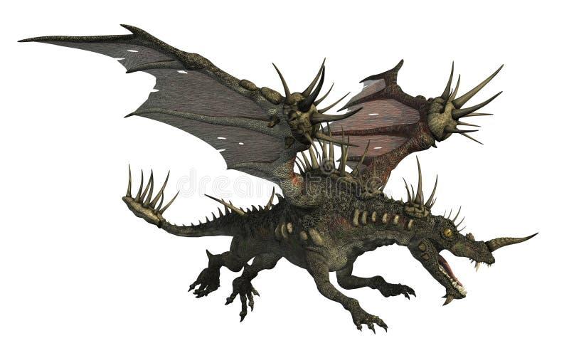 летание дракона spiky иллюстрация вектора
