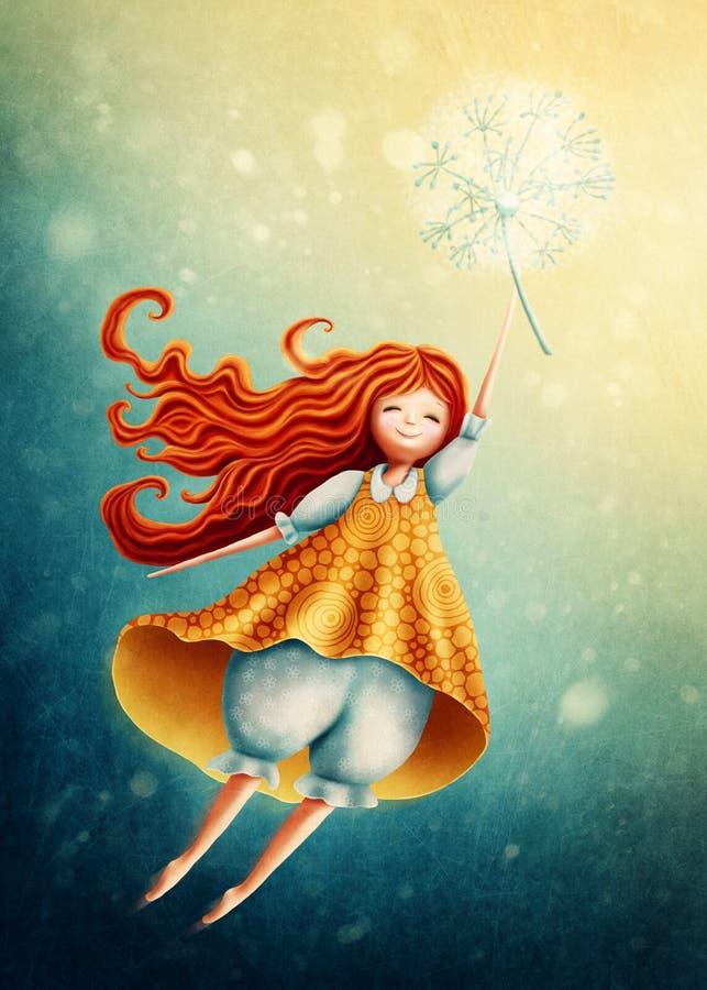 Летание девушки в небе с одуванчиком иллюстрация вектора