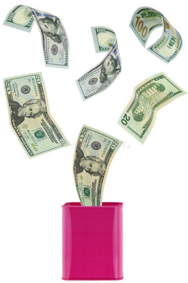 Летание денег банкноты доллара много USD внутри к или из розовому металлу стоковая фотография rf