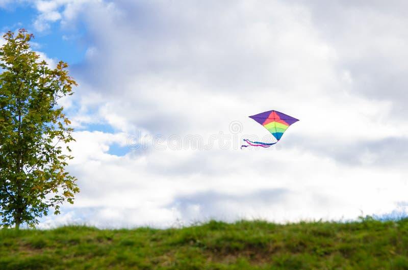 Летание змея в воздухе Развлечения для детей и взрослых в свободном времени Соберите змея стоковая фотография