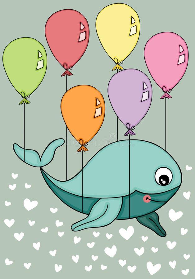 Летание кита на предпосылке вектора воздушных шаров иллюстрация штока