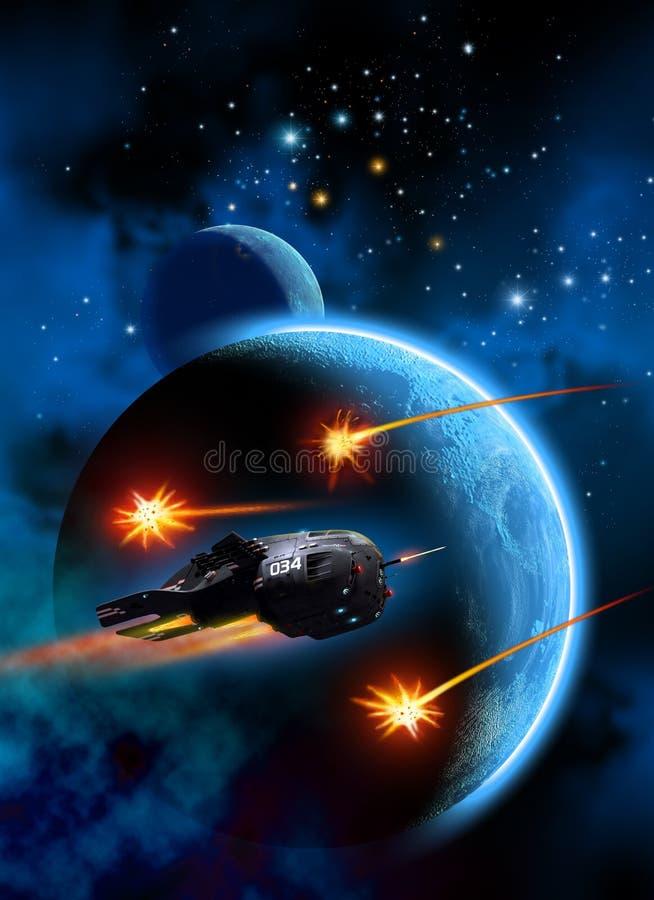 Летание космического корабля вокруг планеты с луной, воюя с ракетами, иллюстрация 3d иллюстрация вектора