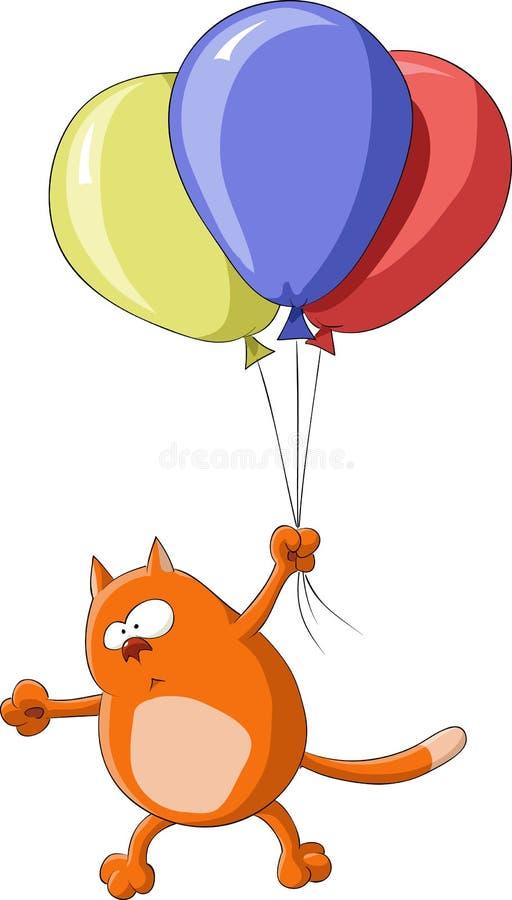 летание кота иллюстрация вектора