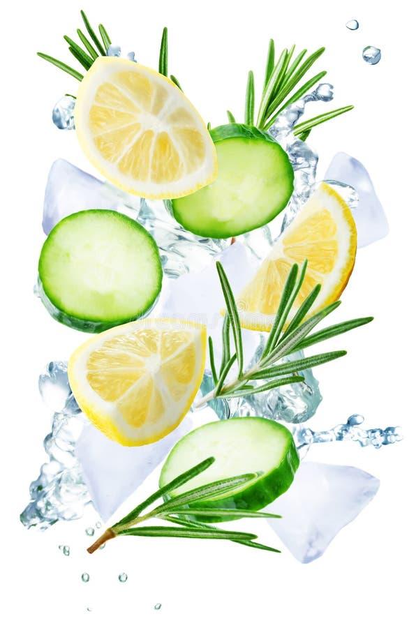 Летание лимона, огурца и розмаринового масла с льдами и водой брызгает I стоковые изображения