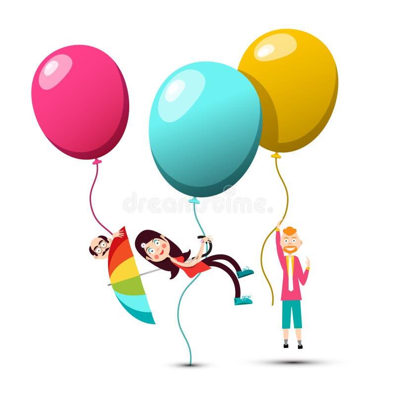 Летание людей на красочных воздушных шарах иллюстрация штока