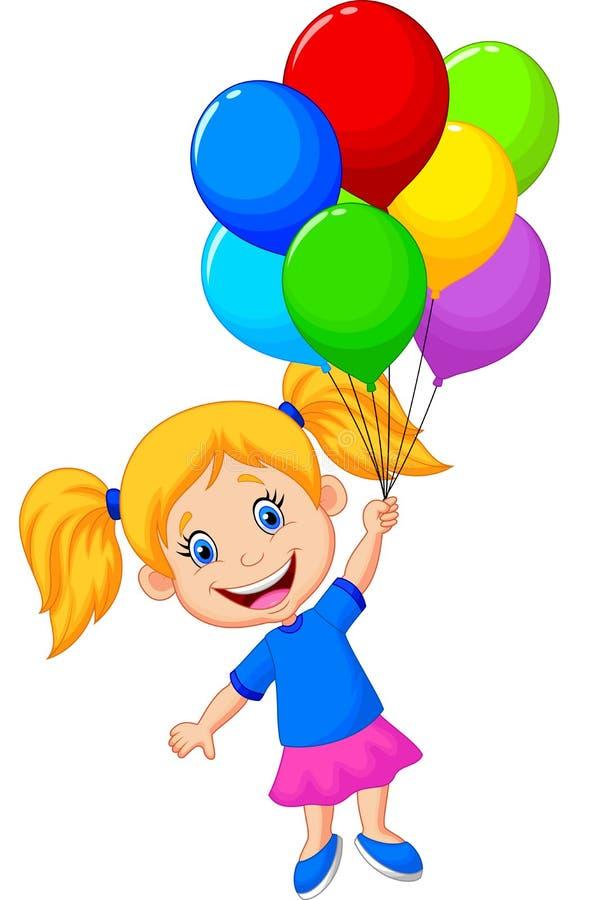 Летание маленькой девочки с воздушным шаром иллюстрация вектора