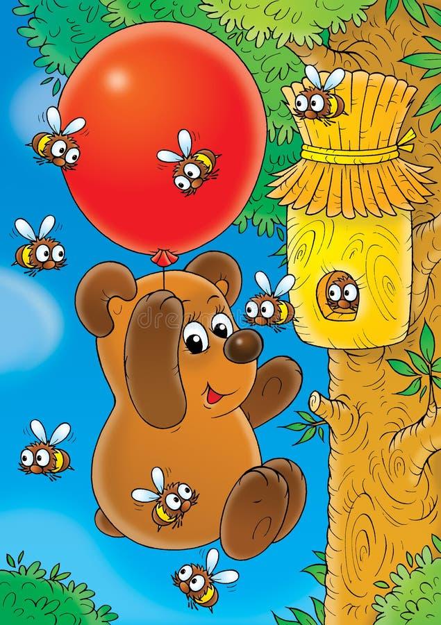 летание медведя иллюстрация штока