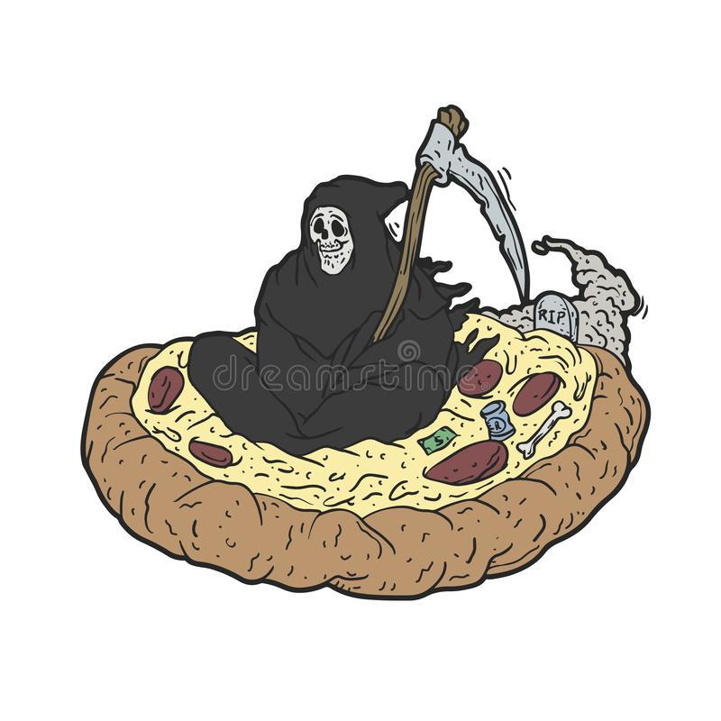 Летание мрачного жнеца над пиццей бесплатная иллюстрация