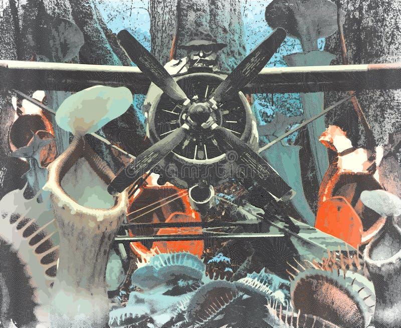 Летание на плотоядных заводах, винтажная гравировка авиатора, ретро обработка стоковые фотографии rf