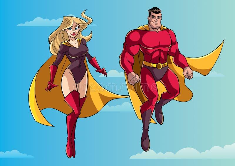 Летание пар супергероя в небе бесплатная иллюстрация