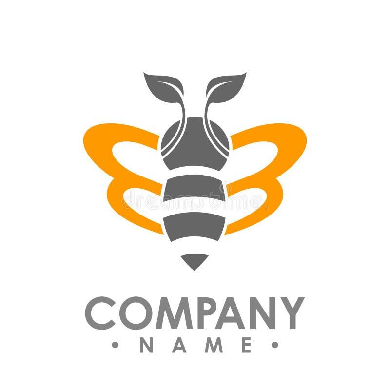 Летание пчелы логотипа абстрактное с оранжевым illus логотипа вектора крыла лист иллюстрация штока