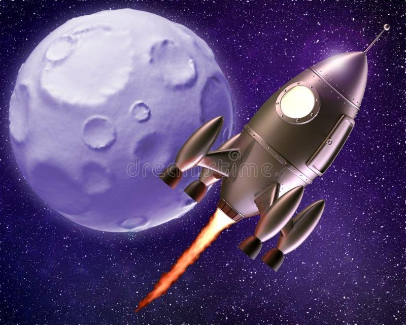 Летание Ракеты шаржа через космос иллюстрация вектора