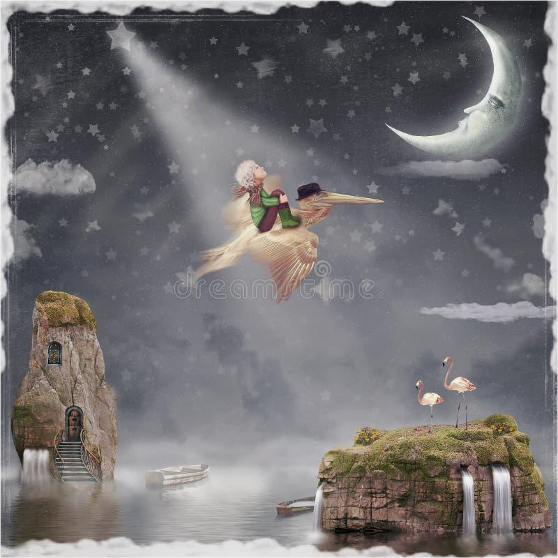 Летание ребенка и пеликана в ночном небе иллюстрация вектора