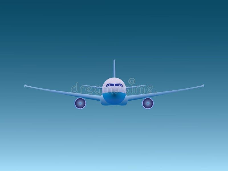 Летание самолета голубого двигателя в открытом небе для дела авиакомпании иллюстрация штока