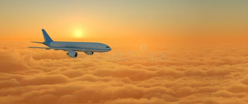 Летание самолета над облаками во время захода солнца - перевода 3d иллюстрация штока