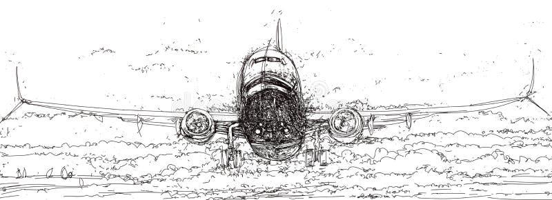 Летание самолета через облака бесплатная иллюстрация