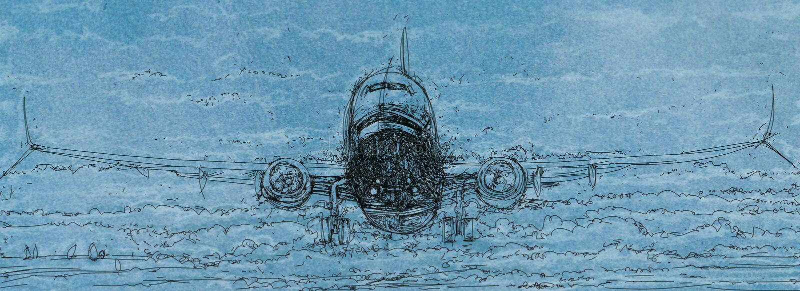 Летание самолета через облака иллюстрация вектора