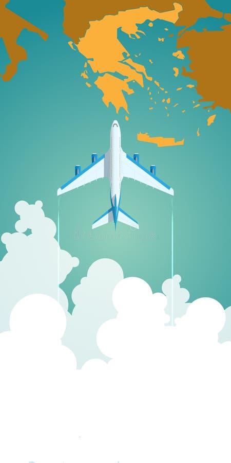 Летание самолета через облака над картой иллюстрация вектора
