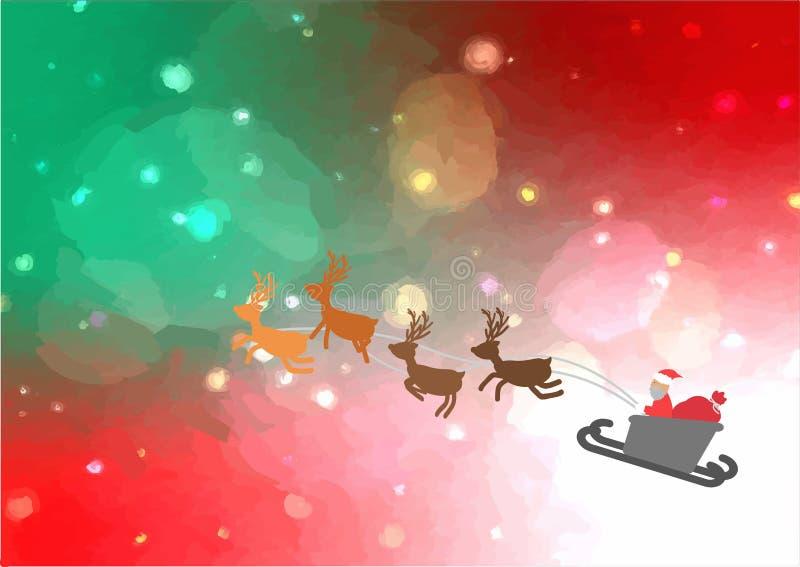 Летание саней Санты в небе яркого блеска рождества накаляя стоковое изображение