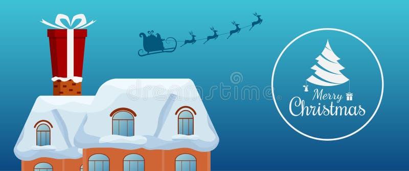 Летание Санта Клауса с санями северного оленя и большой подарочной коробкой на печной трубе на крыше С Рождеством Христовым и с н бесплатная иллюстрация