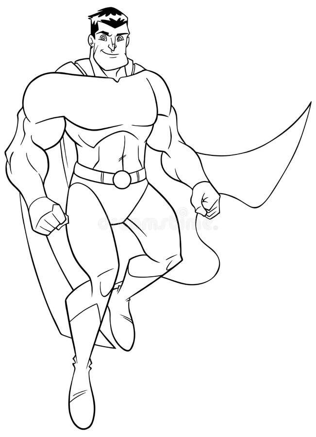 Летание супергероя и усмехаясь линия искусство бесплатная иллюстрация