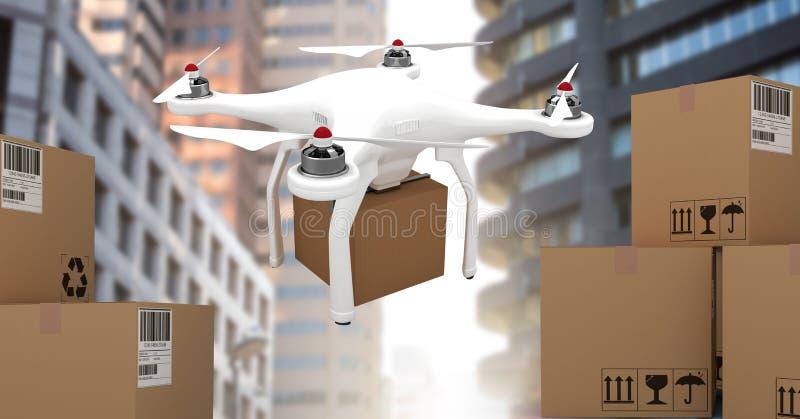 Летание трутня городом с коробками пакета поставки иллюстрация штока
