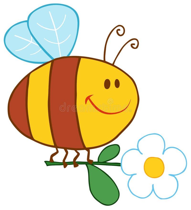 летание цветка пчелы счастливое иллюстрация вектора