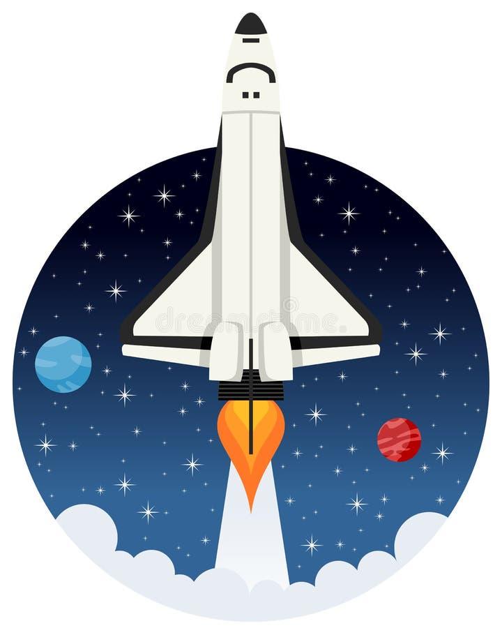 Летание челнока в космосе с звездами иллюстрация штока