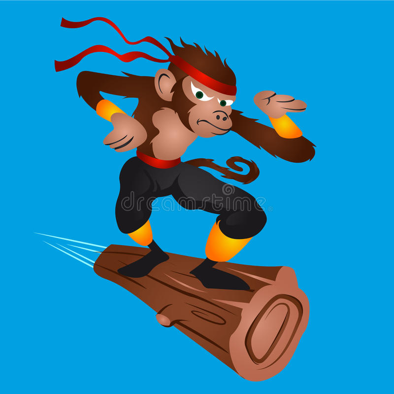 Летание Ninja обезьяны иллюстрация вектора