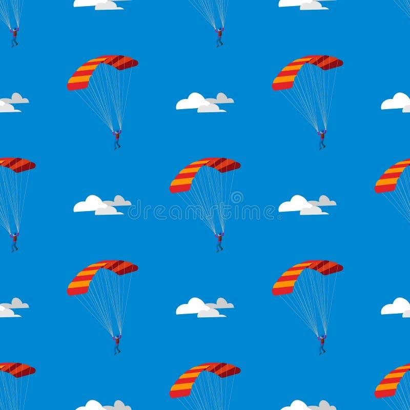Летание Skydiver с парашютом Skydiving, парашютировать и весьма спорт, активная концепция отдыха картина безшовная иллюстрация штока