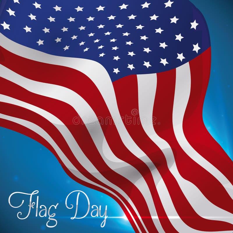 Летание u S A Сигнализируйте для того чтобы чествовать дизайн на День флага, иллюстрация вектора иллюстрация вектора