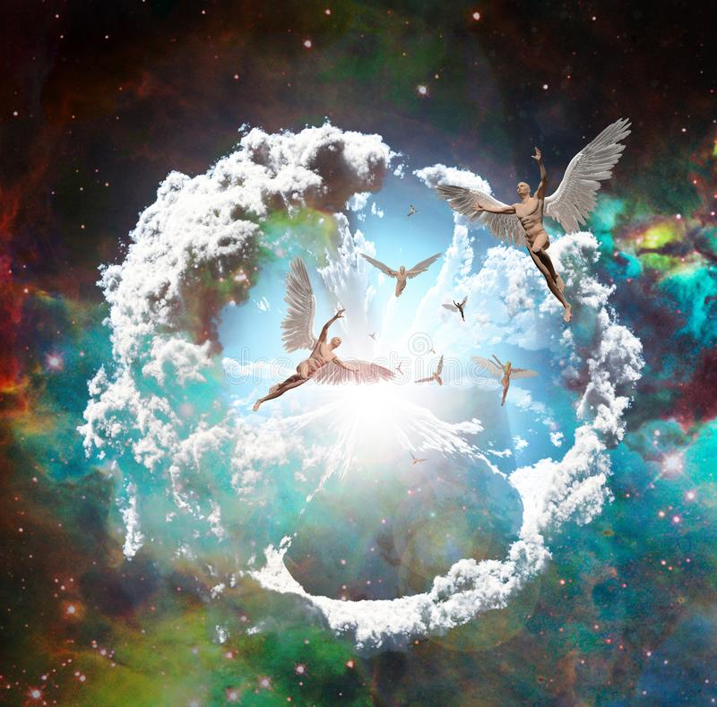 Летать ангелов иллюстрация вектора