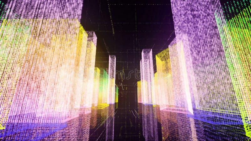 Летать над цифровым городом в интернете дела и радиосвязи перевод 3d стоковое изображение
