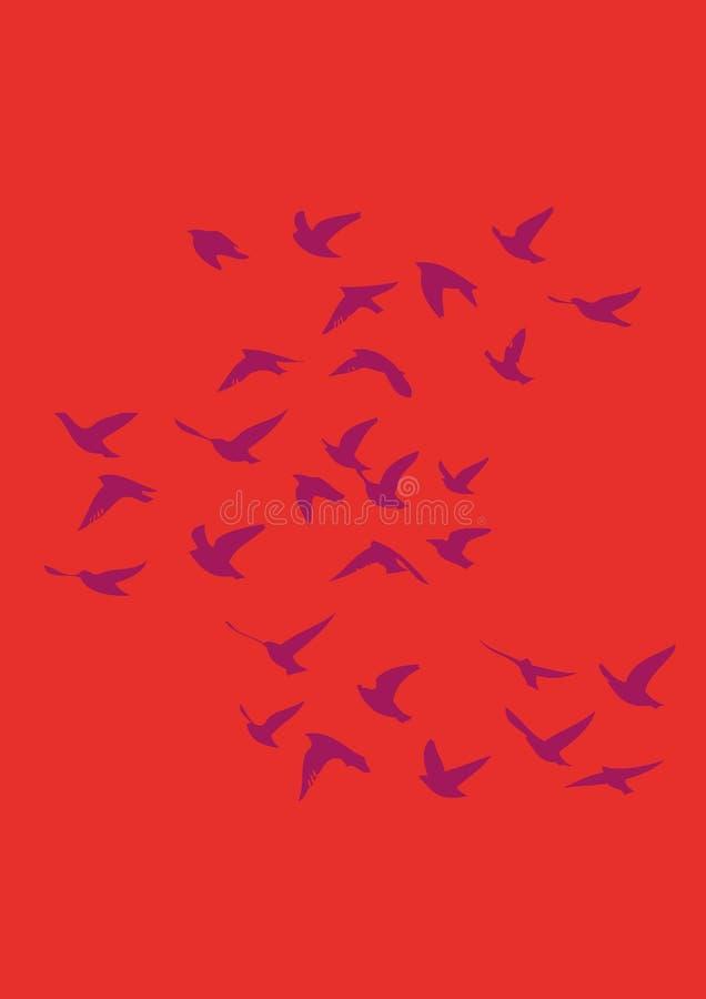 Летать перелётных птиц нарисованный внутри стоковое фото