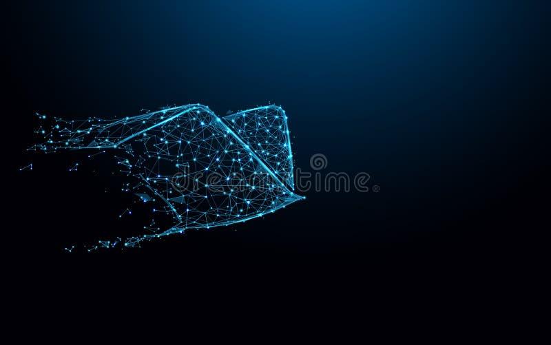Летать птицы и крылов Посылайте линии формы значка и треугольники по электронной почте, сеть пункта соединяясь на голубой предпос иллюстрация вектора