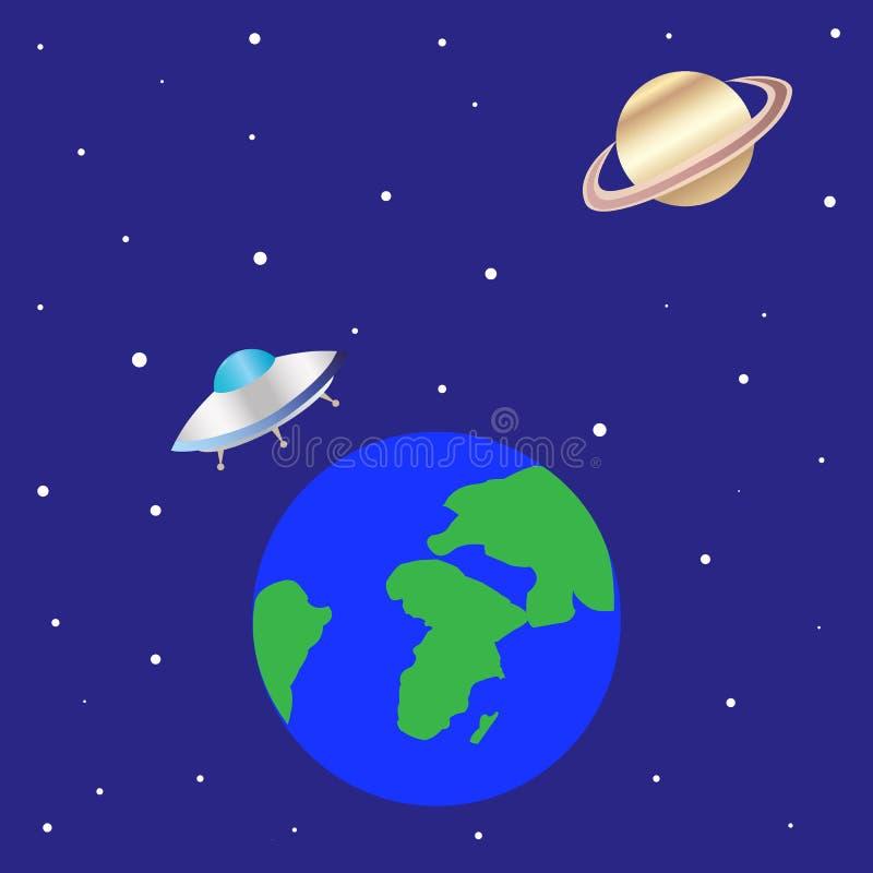 Летающая тарелка UFO иллюстрация штока