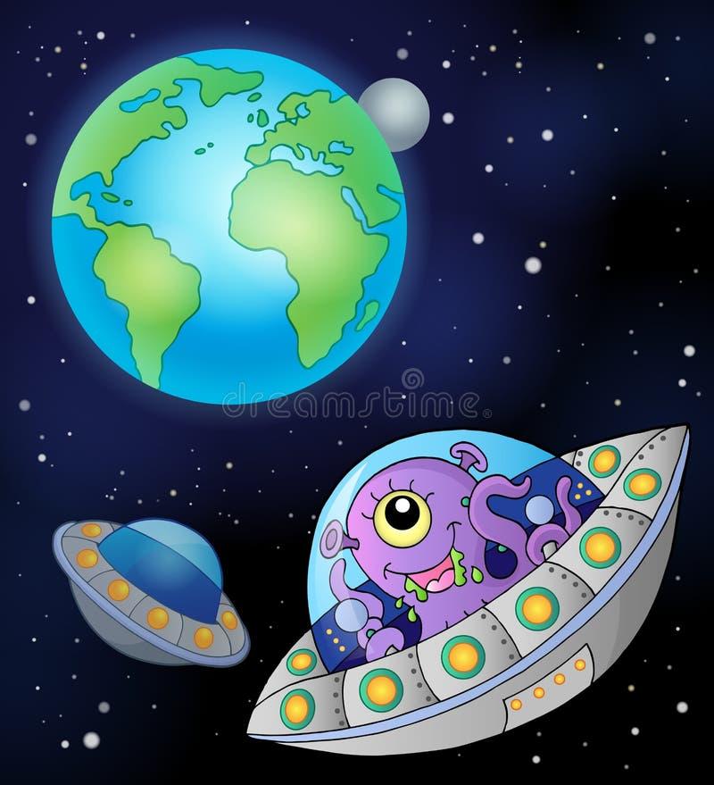 Летающие тарелки приближают к земле бесплатная иллюстрация