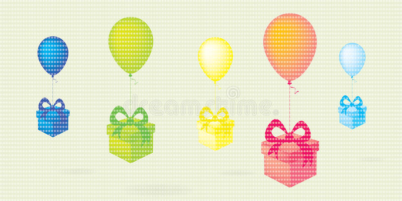 Летая красочное летание красочные воздушные шары с подарочными коробками ставит точки предпосылка вектора иллюстрация штока